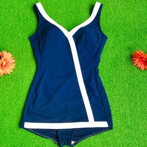 Vintage 1960s mod pin up one piece swimsuit S/M